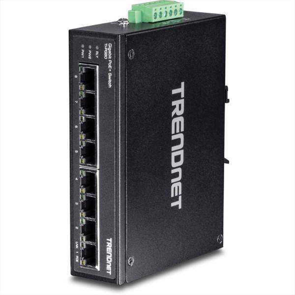 Trendnet TI-PG80 8-Port Gehärteter Industrieller Gigabit PoE+ DIN-Rail Switch