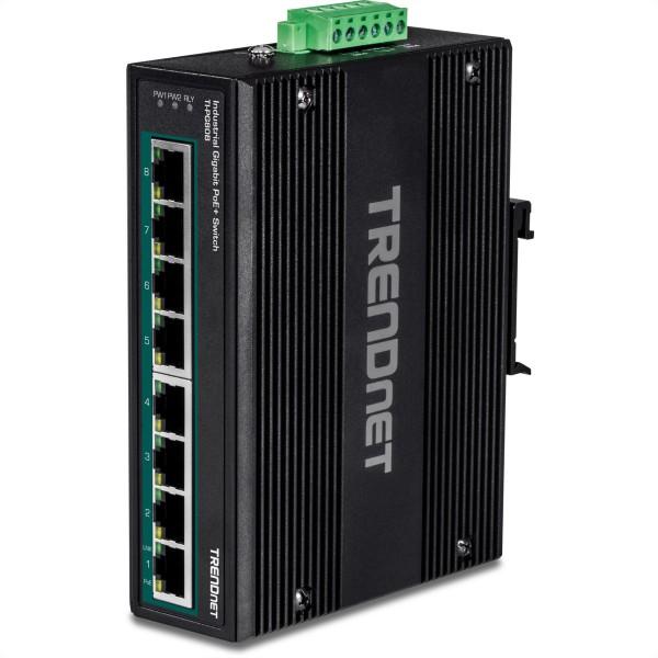 TRENDnet TI-PG80B 8-Port PoE+ Switch Industrial Gigabit DIN-Rail (24-56V)