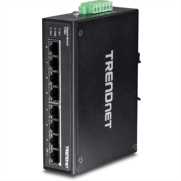 Trendnet TI-G80 8-Port Gehärteter Industrieller Gigabit DIN-Rail Switch