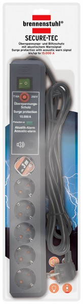 Brennenstuhl ÜSS Secure-Tec Akustik, 6-fach, anthrazit, 3 m