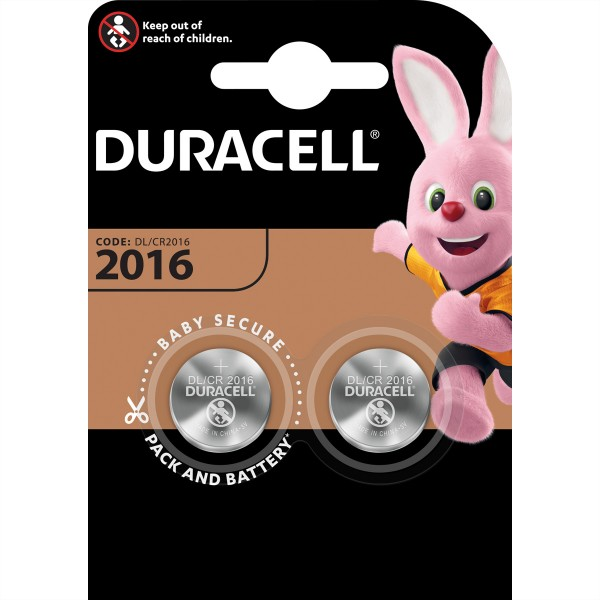 DURACELL Knopfzellen CR2016-2, 2er Pack, 3,0V