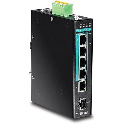 Trendnet TI-PG541 5-Port gehärteter industrieller Gigabit PoE+ Switch DIN-Rail