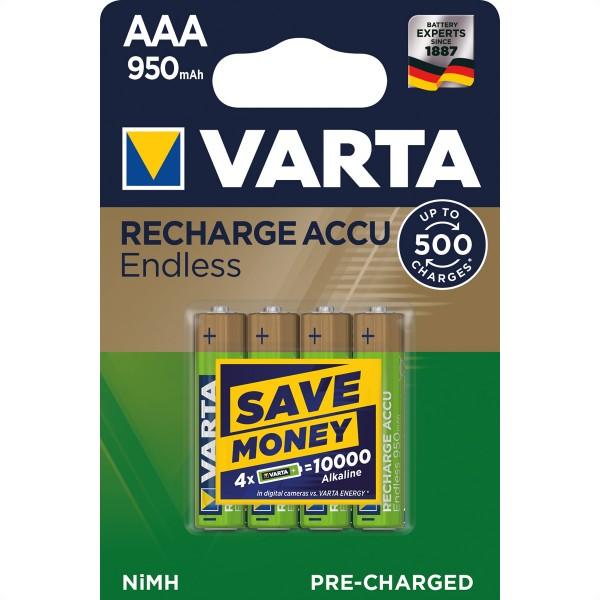 VARTA NiMH Akku Micro, AAA, HR03, 4er, 1,2V, 950mAh, vorgeladen, sofort einsatzbereit