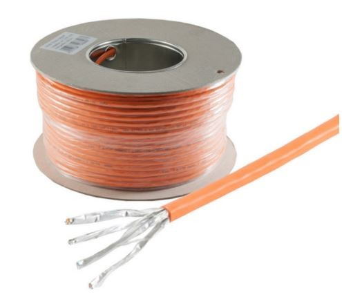 Helos Verlegekabel High Quality, Cat 7, S/FTP, PiMF, LSZH, orange, 100m Ring