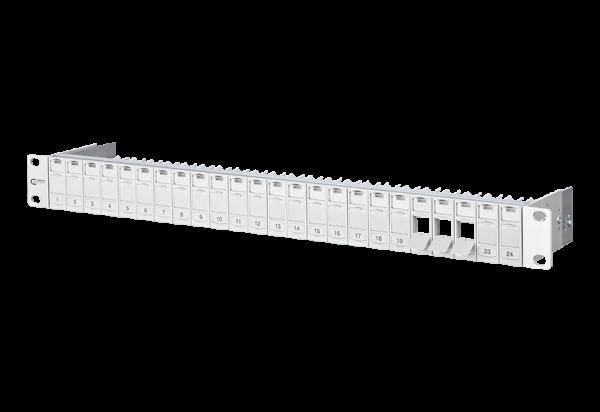 """METZ CONNECT Keystone Modulträger 19"""" 24 Port 1HE lichtgrau, leer, geschirmt"""