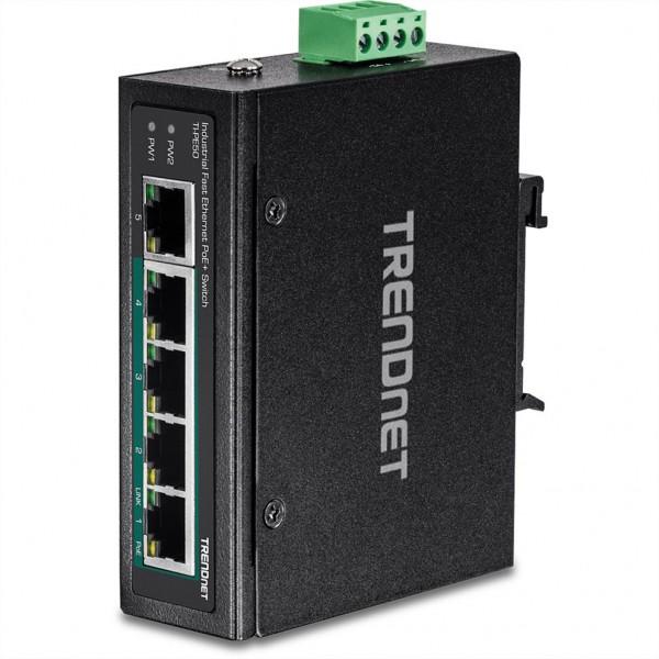 TRENDnet TI-PE50 DIN-Rail Switch 5-Port Industrial Fast Ethernet PoE+