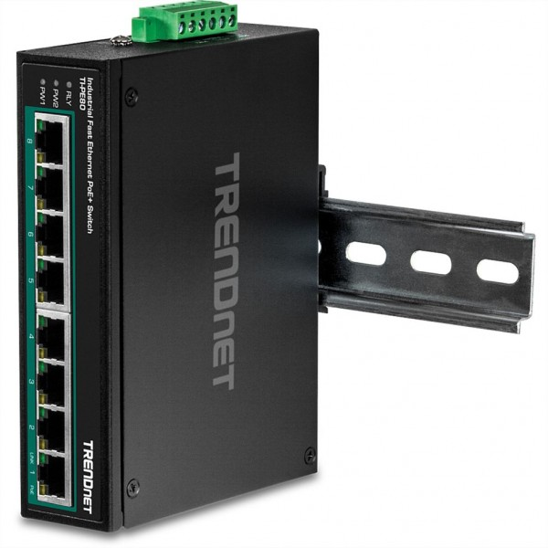 TRENDnet TI-PE80 Industrial Fast Ethernet PoE+ DIN-Rail Switch 8-Port