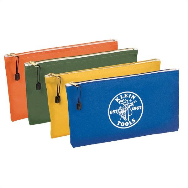 KLEIN TOOLS 5140 Stoff-Reißverschlusstasche, Canvas, Oliv/Orange/Blau/Gelb, 4er-Pack