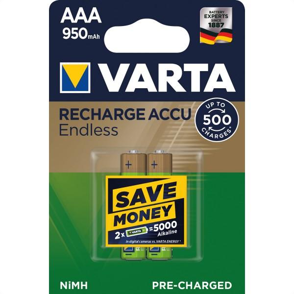 VARTA NiMH Akku Micro, AAA, HR03, 2er, 1,2V, 950mAh, vorgeladen, sofort einsatzbereit