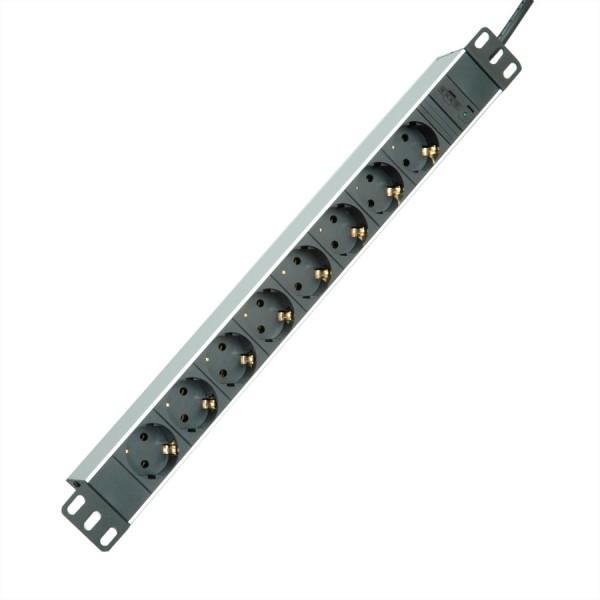"ROLINE 19""-Steckdosenleiste 8fach + C14-Stecker, Aluminium, 2 m"