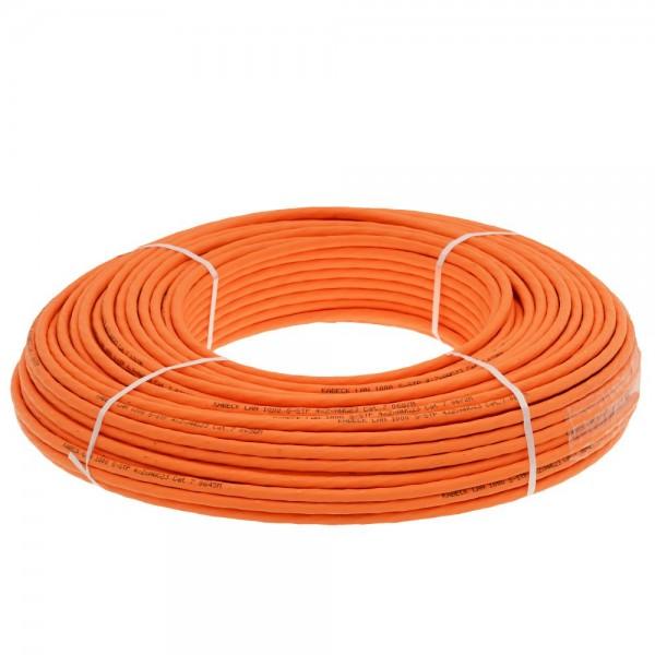 Helos Verlegekabel, Cat 7, S/FTP, PiMF, LSZH, orange, 100m Ring