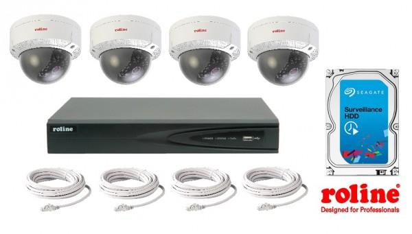 ROLINE Dome Kamera Überwachungsset