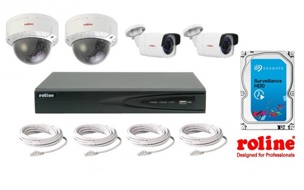 ROLINE Dome & Bullet Kamera Überwachungsset